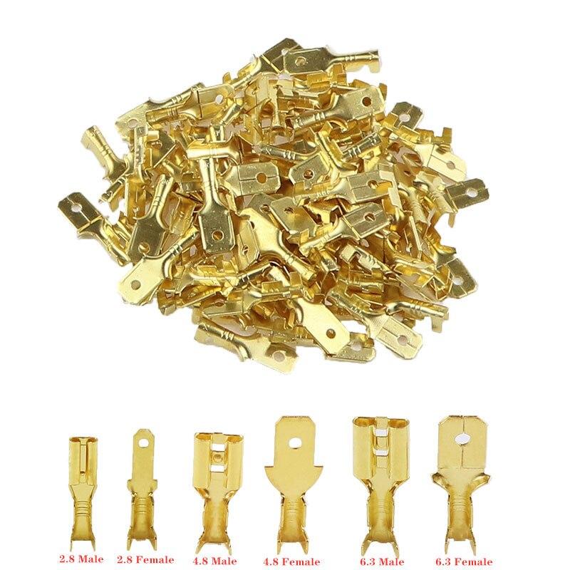 Обжимные клеммы 100 шт./лот 2,8/4,8/6,3 мм, соединители для электрических проводов для автомобильных колонок, золотистые, латунные, серебристые, 50 S