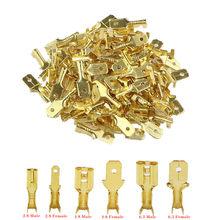 100 pçs/lote 2.8/4.8/6.3mm conector terminal de friso fêmea e masculino ouro bronze/prata alto-falante do carro conectores fio elétrico 50 s