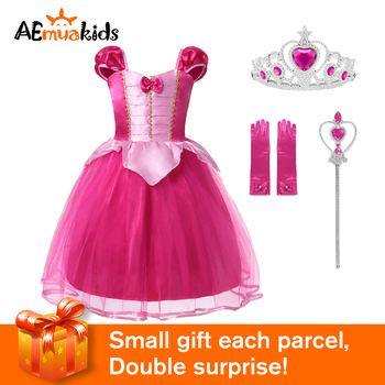 Aurora Princess Girls Pink Dress For Deluxe Tulle Halloween Costume Kids Fairy Tale Cosplay Tutu Party  Short Sleeve Clothes black flower baby girls tutu dress sleeveless tulle halloween cosplay animal cat costume for girls kids birthday party dresses