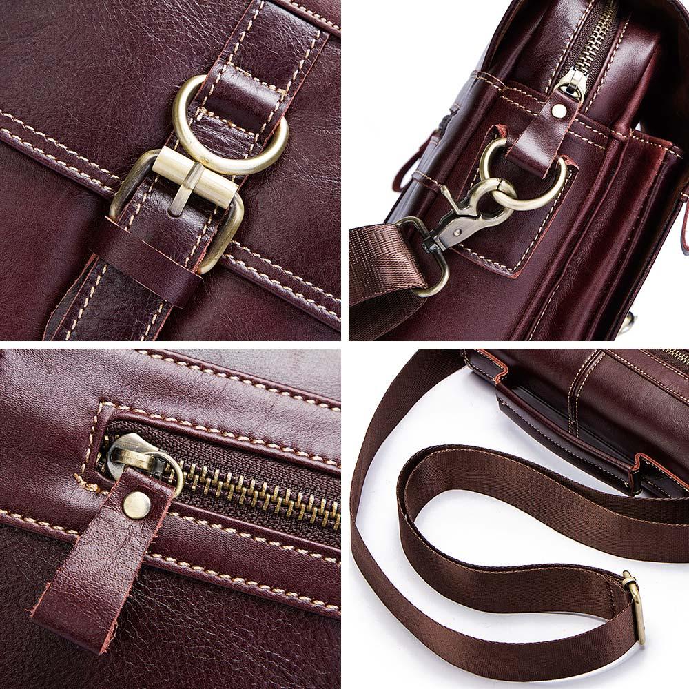 Image 3 - famous brand Genuine Leather Shoulder Bag Men Messenger Bags  Handbag Busines Bolsas Travel Sling Crossbody for Male ipad  ToteCrossbody Bags