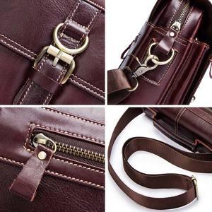Image 2 - famous brand Genuine Leather Shoulder Bag Men Messenger Bags Handbag Busines Bolsas Travel Sling Crossbody for Male ipad Tote