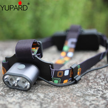 YUPARD 2*XM-L T6 LED Headlamp two T6 LED torch light Waterproof bright Camping Hunting Headlight rechargeable 18650 battery цена