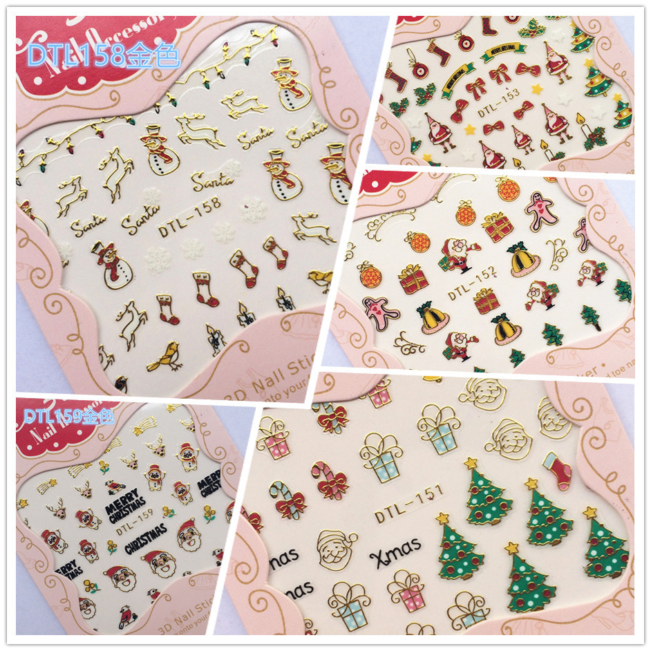 Top Form Brand 3D Manicure Flower Stickers Nail Decals Christmas Adhesive Paper Dtl148-159 Gold