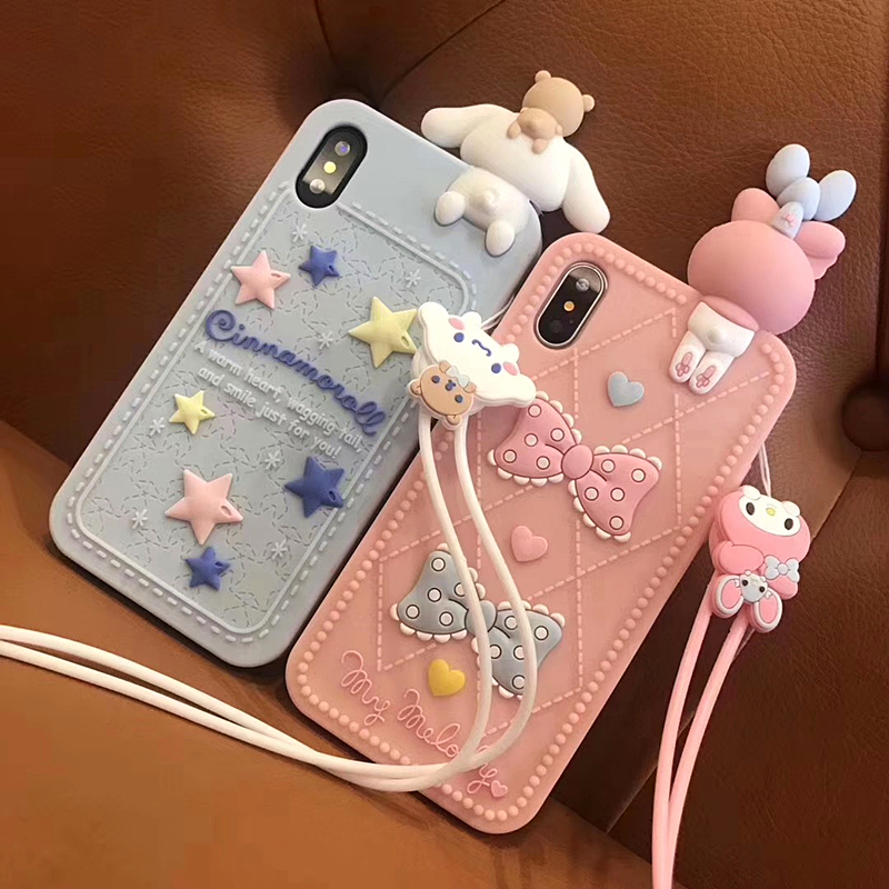 Cute 3D Silicone Cartoon My Melody Phone Case For iphone X XR XS MAX 7 8 6s plus lanyard doll Kitty Cat Soft silicone Cover