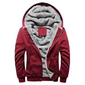 Image 3 - Kış erkek kalınlaşmak polar Hoodies sıcak tişörtü katı spor fermuarlı kapüşonlu kıyafet erkekler kapşonlu dış giyim rahat rüzgarlık Tops