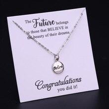 Believe Graduation Graduate Necklace Compass Degree Diploma Senior Choker Necklaces School Leavers 2019 2020 Women Jewelry