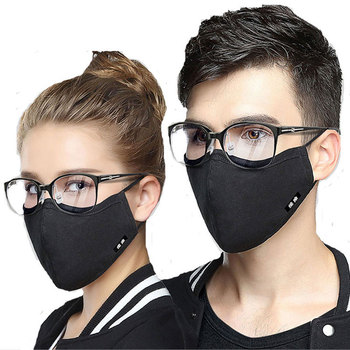 Wecan Korean Cotton Mouth Face Mask Pm2.5 Anti-Dust Glasses Mask Respirator with Activated Carbon Filter Black Fabric Face Mask
