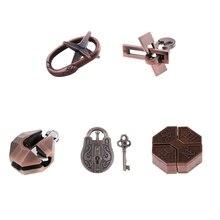 5 sztuk metalowe łamigłówki Puzzle Disentanglement Test IQ zabawki edukacyjne, wyzwanie gry dla dzieci dzieci nastolatki lub dorośli