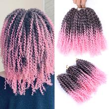 BellQueen Marlybob Crochet Braids 8 inch Ombre Synthetic Crochet Hair Extensions 3pcs pack Afro Kinky Twist Hair 90g pack cheap Low Temperature Fiber CN(Origin) Marley Braids 1strands pack