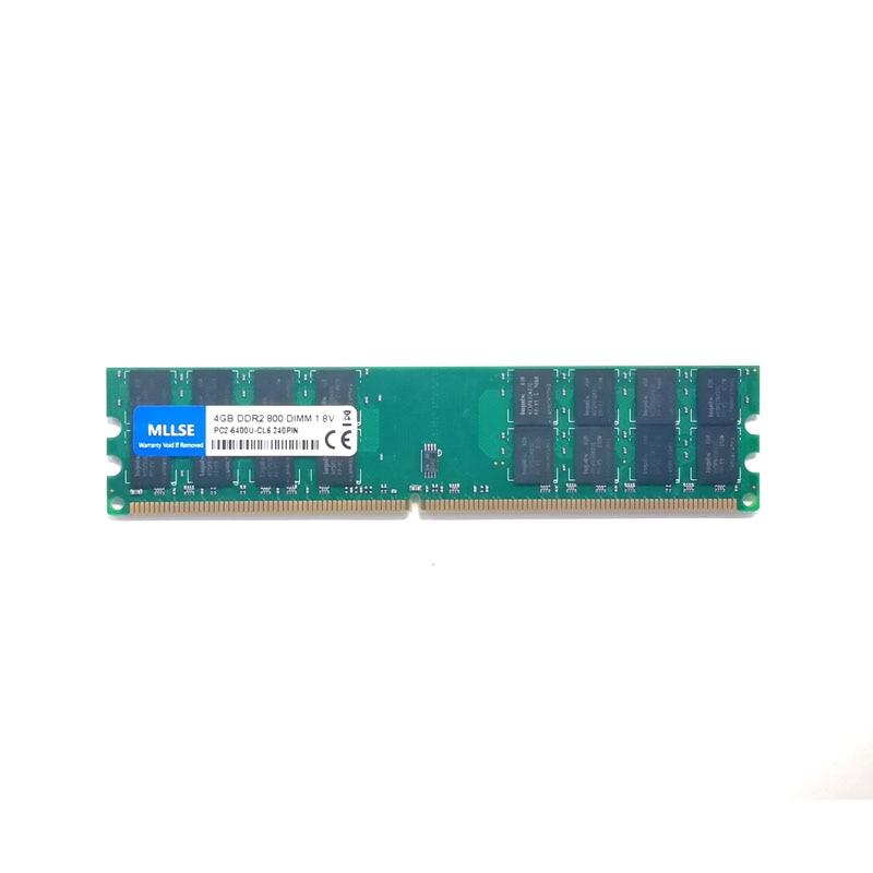 Mllse novo selado dimm ddr2 800mhz 4gb para memória amd PC2-6400 para desktop ram, boa qualidade!
