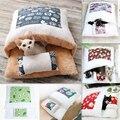 Зимняя теплая Лежанка для собаки, мягкая флисовая Съемная моющаяся кровать для кошки, щенка, спальный мешок в японском стиле, подушка для до...