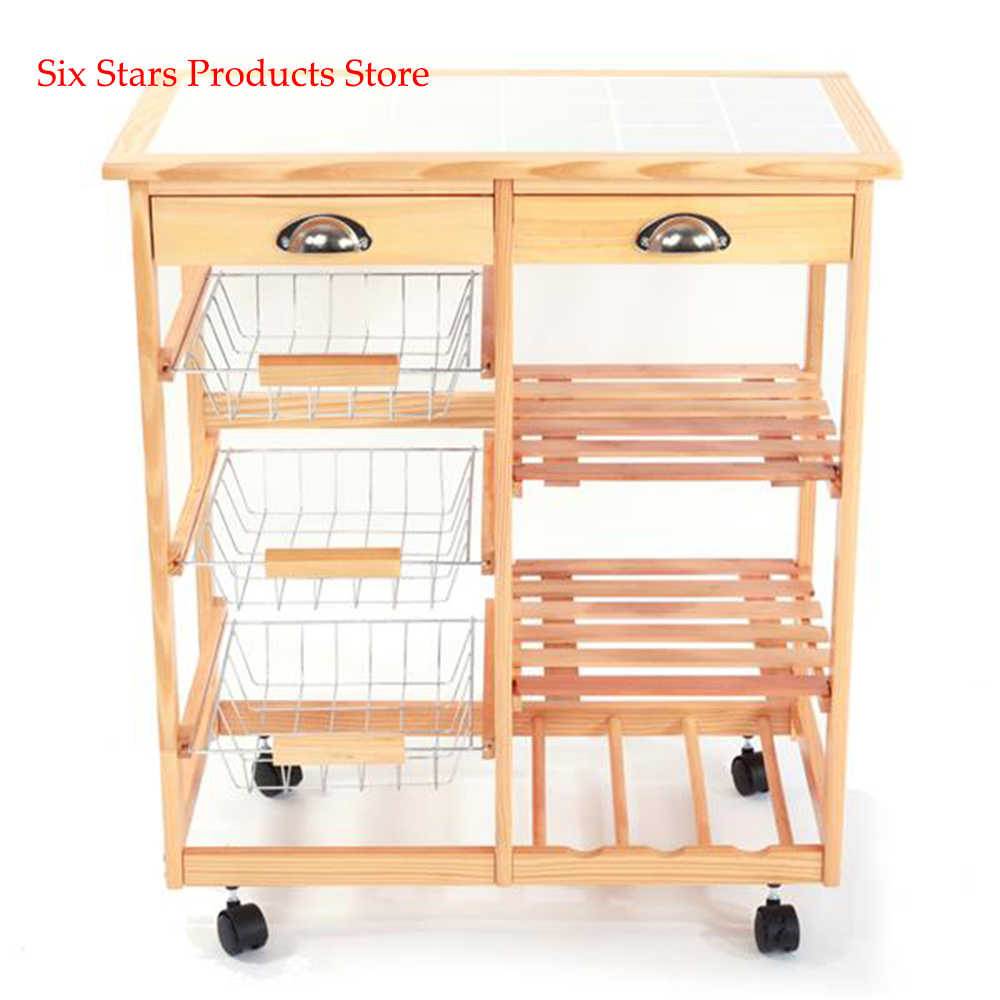 Portable Kitchen Dining Room Cart 2 Drawer Removable Storage Rack With Rolling Wheels Wood Color Kitchen Islands Trolleys Aliexpress