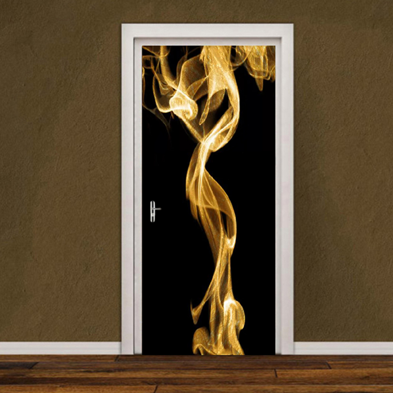 Modern Creative Home Design Door Sticker 3D Golden Smoke Black Stickers On The Doors Living Room Bedroom Art Mural Wallpaper 3 D