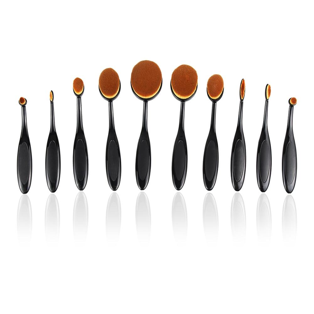 10PCS Make-Up Pinsel Weiche Oval Zahnbürste Geformt Foundation Contour Pinsel Pulver Conceler Eyeliner Blending Pinsel Kosmetische