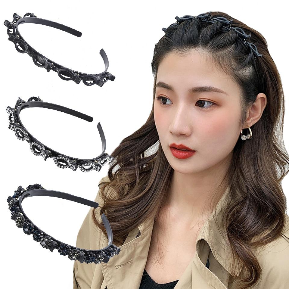 Kajeer preto exploso pino grampo de cabelo penteado trazer aro ferramenta de estilo de cabelo tecer ar wisp cabea hoop strass