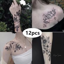 Тату наклейки с цветами на руку и грудь 12 листов