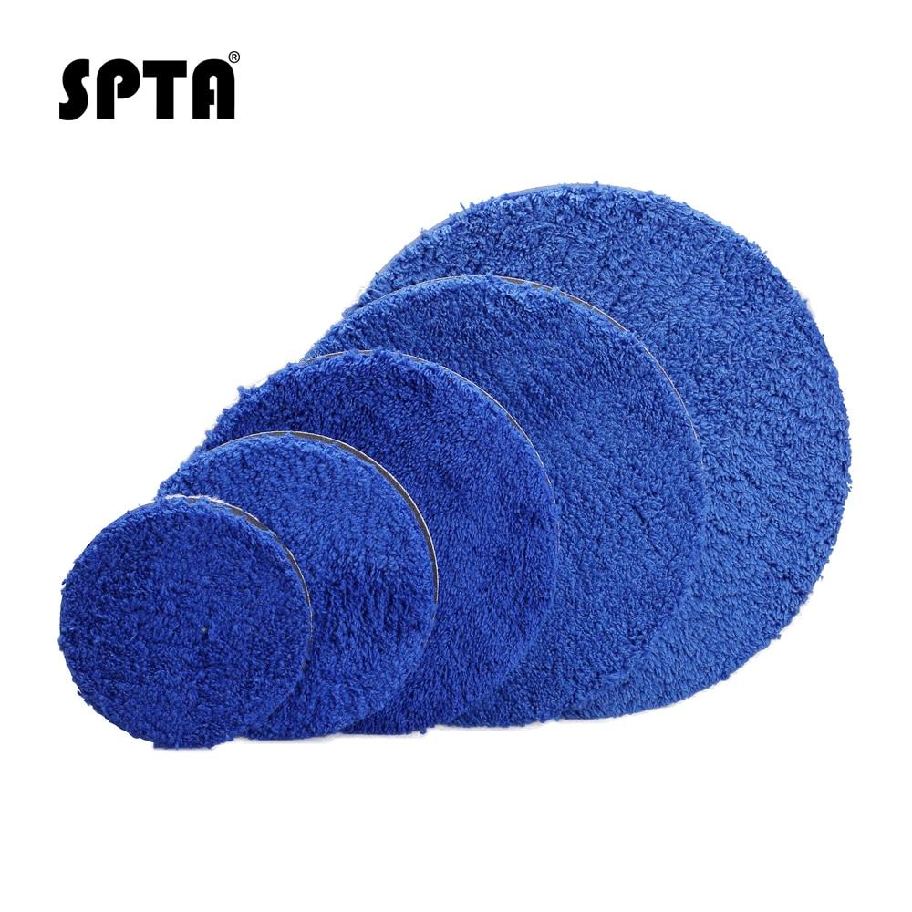 SPTA 3/4/5/6/7 Inch Microfiber Polishing Pad Removing Wax Buffer Pads Replaceable Buffing Pads Micro Fiber For DA/RO Polisher
