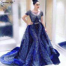 Роскошные темно-синие вечерние платья новейшего дизайна с длинным рукавом, а-силуэт, Сексуальные вечерние платья Serene hilm LA60914