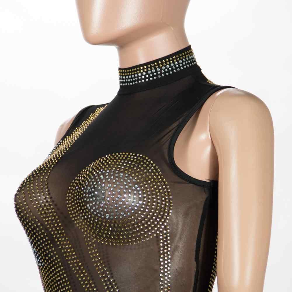 2020 primavera diamantes negro Perspectiva de malla Mini vestido mujeres cuello de tortuga ceñido al cuerpo vestido elegante noche Club vestidos de fiesta