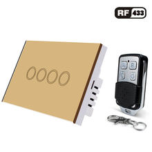 Smart Switch Standar US Remote Control Switch AC110-220V Lampu Dinding Remote RF433 Touch Switch dengan Mini Remote Controller(China)