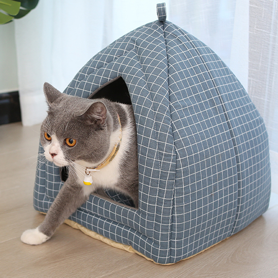 Foldable Pet Cat Bed Mat Soft Cone Shape Dog Kennel Winter Pet Cave Cat House Warm Sleeping Cats Nest Washable Dog Beds Pet Bed