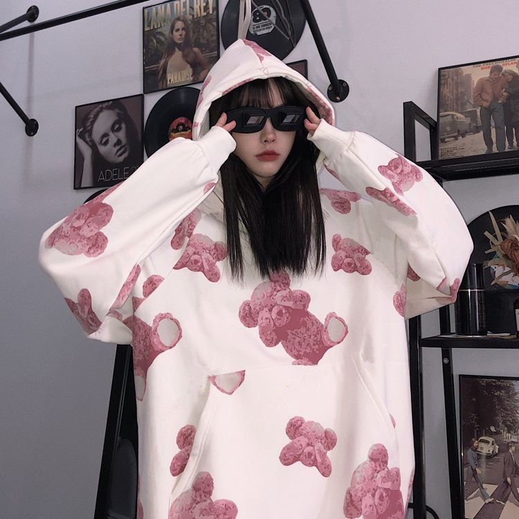 2020 Spring New Women Hoodies Fashion Print Little Bear Korean Style Simple Casual Harajuku High-quality Loose Women Hoody