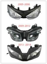 Motorcycle Front Headlight  Headlight Lamp Light Assembly For Kawasaki Ninja ZX6R 2005-2006 2009-2014 motorcycle headlight front headlamp light fits 2013 2014 for kawasaki z800 z250 dedicated