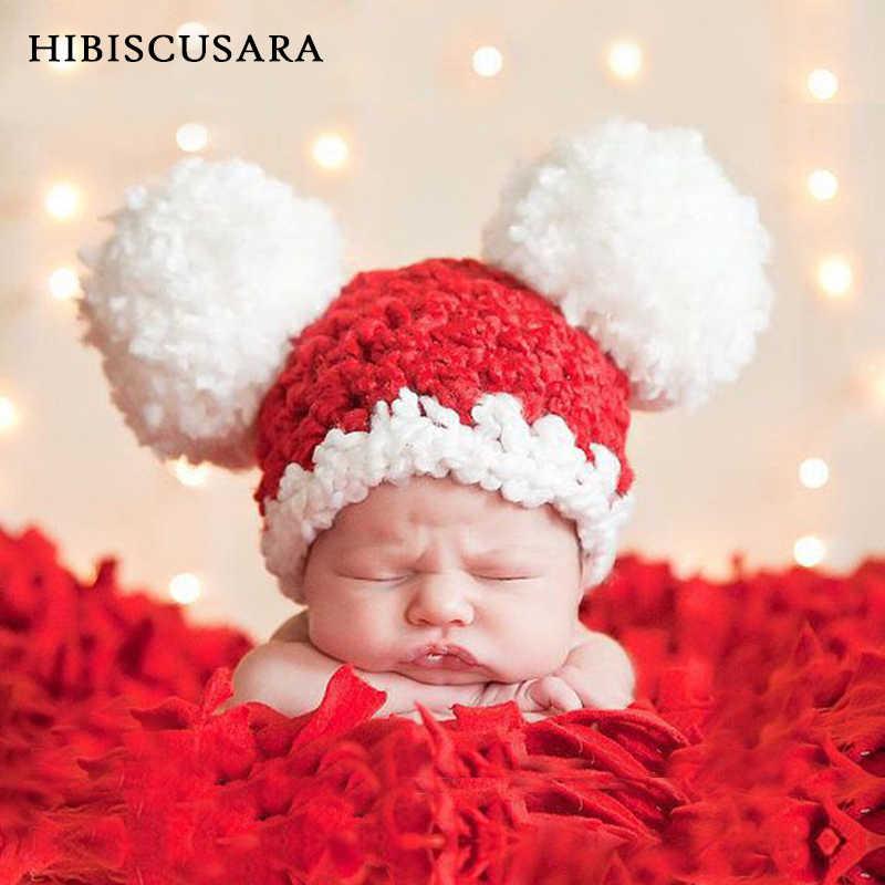 Chapéu Do Inverno Do Bebê recém-nascido Xmas Festival Artesanal Cap Quente Bebe Meninos Meninas de Santa Chapéu Feito Malha Pompom Bonito Beanie Bonnet
