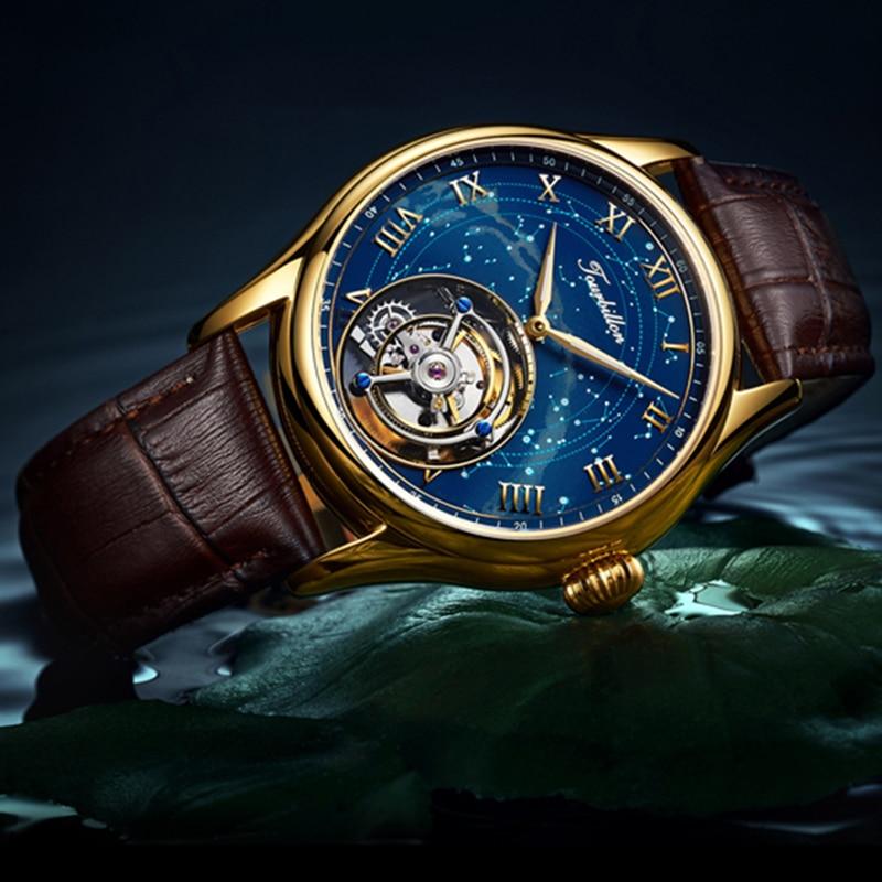 100% Tourbillon GUANQIN Men watches top brand luxury Tourbillon clock men Sapphire Skeleton mechanical watch Relogio Masculino 1