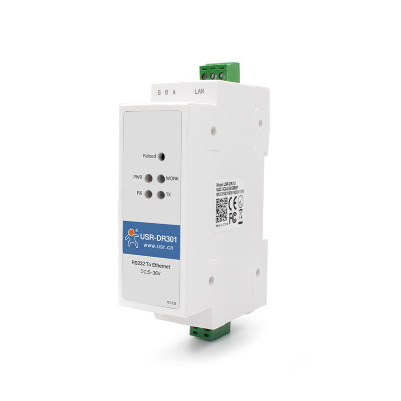USR DR301 DIN Rail Modbus RS232 SERIAL port TO Ethernet Converter bidirectional transparent transmission between RS232 and  RJ45Building Automation   -