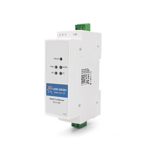 USR DR301 na szynę DIN port szeregowy Modbus RS232 na konwerter Ethernet dwukierunkowa przezroczysta transmisja między RS232 i RJ45