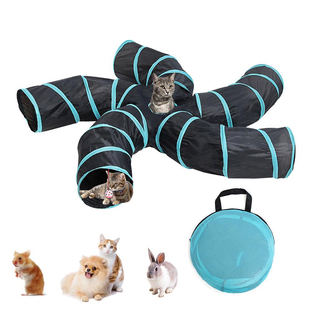 Juguetes para gatos de interior, túnel plegable de 2/3/4/5 vías, tienda para gatos, agujero de taladro, Gato de juguete, juguetes para mascotas