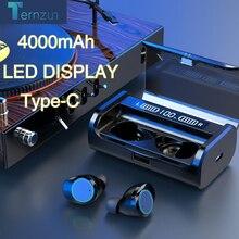 سماعة أذن ستيريو بكود AAC بلوتوث عالية الجودة 5.0 سماعة أذن لاسلكية مضادة للماء بضبط مستوى الصوت تعمل باللمس وسماعات رأس مزدوجة بتقنية LED من النوع c