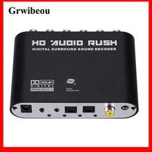 GRWIBEOU-Convertidor de Audio Digital a analógico, amplificador de decodificador de sonido estéreo AC3 de 5,1 canales, óptico SPDIF Coaxial AUX a 6 RCA