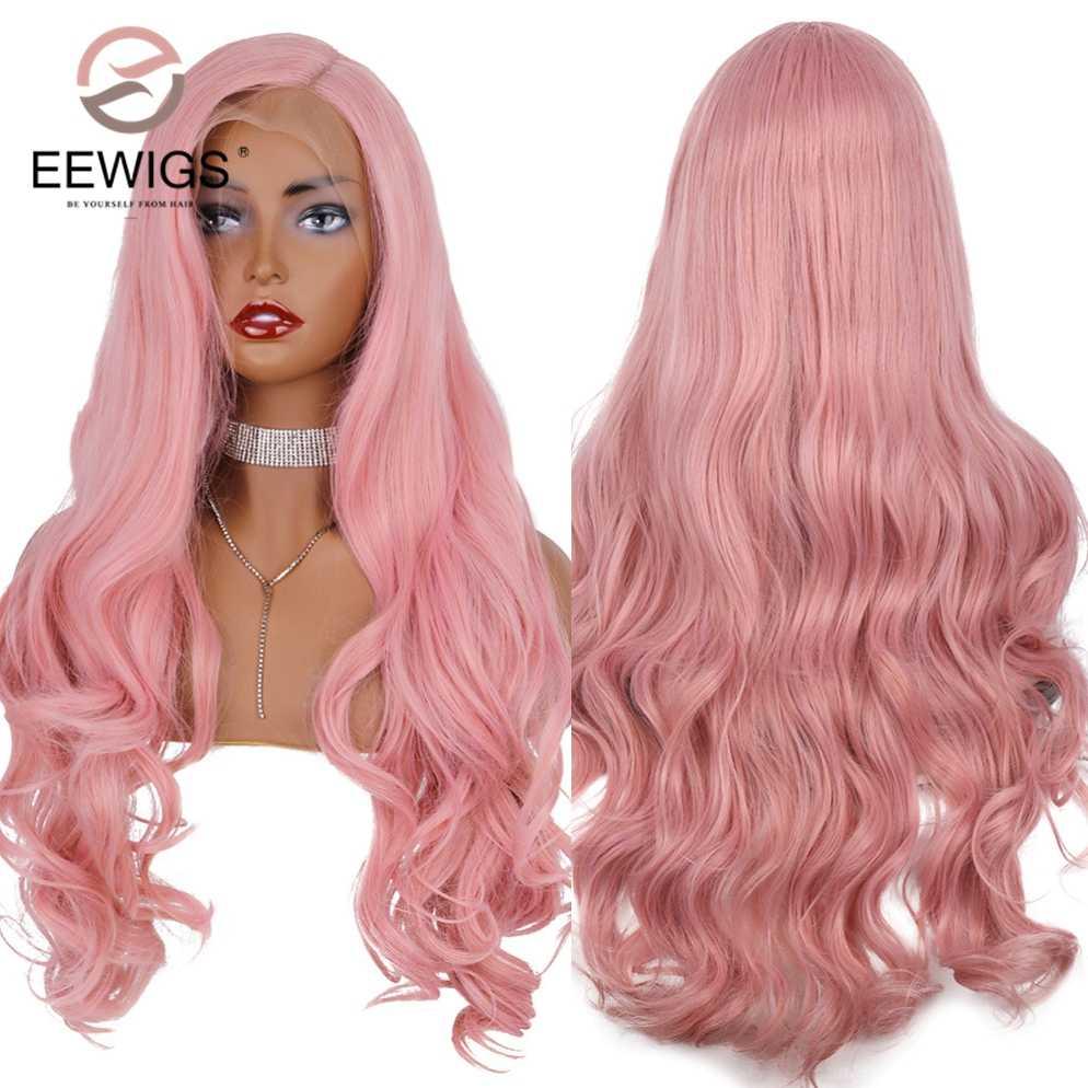 EEWIGS розового цвета парики Волнистые Синтетические волосы на кружеве парик тепла устойчивость к высокой температуре пастельный персиковый Цвет парики для Для женщин