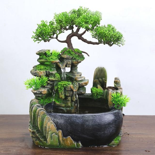 Resin Crafts Tabletop Feng Shui Decor Rockery Landscape Water Fountains Home Decoration Indoor Fountain Zen Garden 5