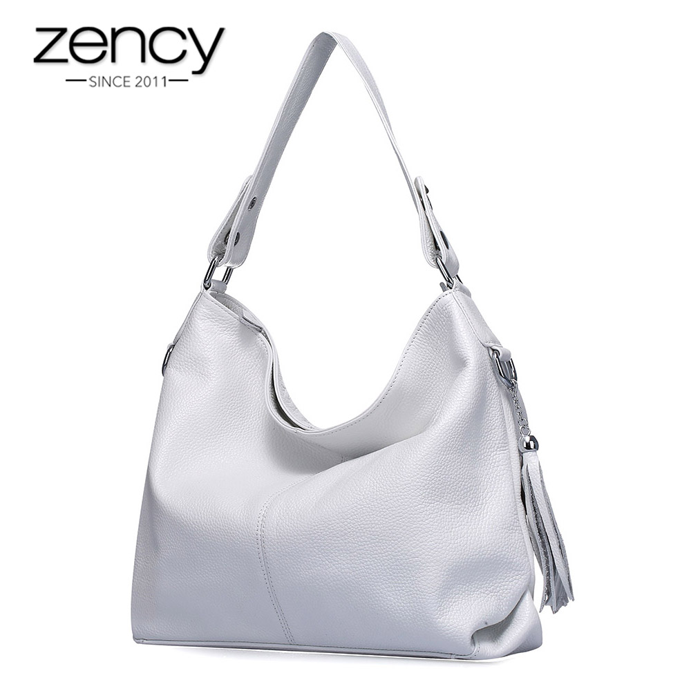 Zency Elegant Women Shoulder Bag 100% Genuine Leather Fashion Female Messenger Handbag Tassels Charm White Crossbody Purse Black
