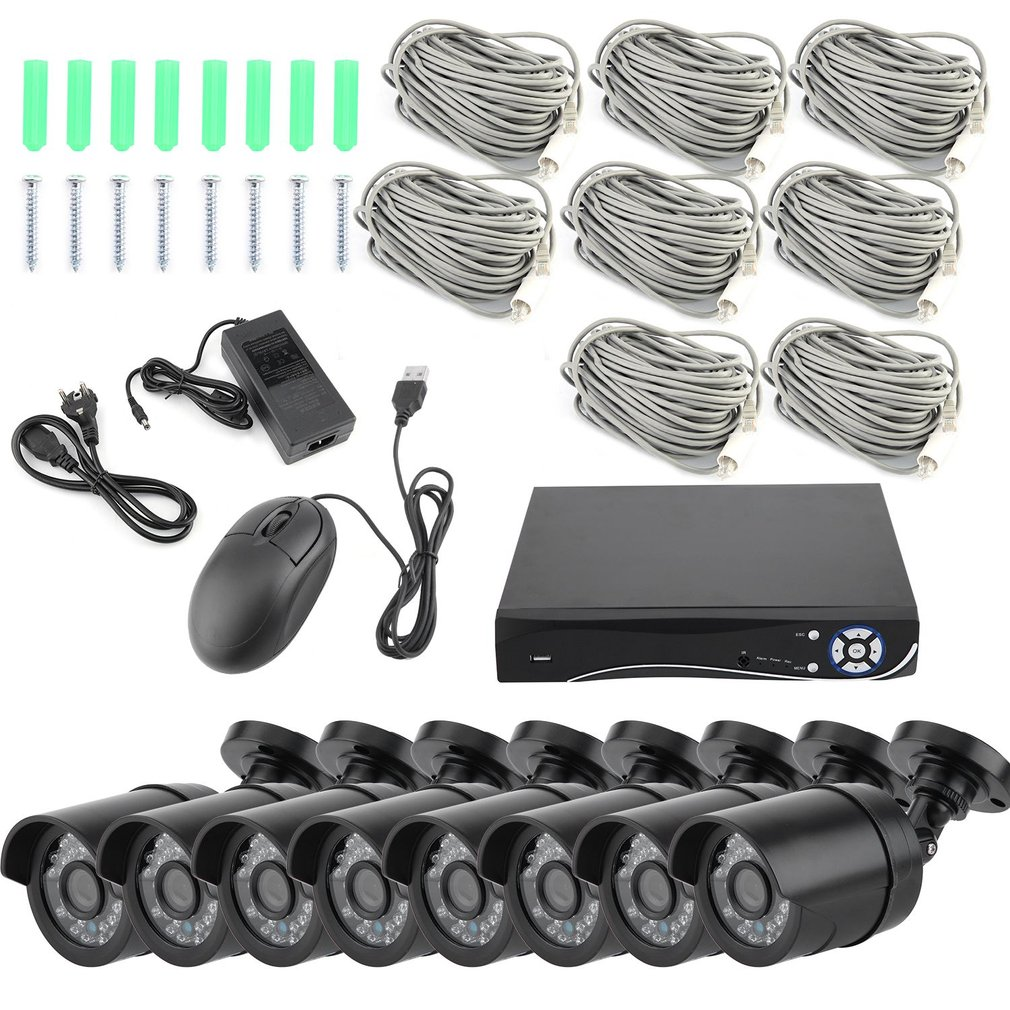 8CH 1080P HDMI 200w POE NVR CCTV System Outdoor Indoor Motion Detection IP Camera Security Surveillance Monitor Kit
