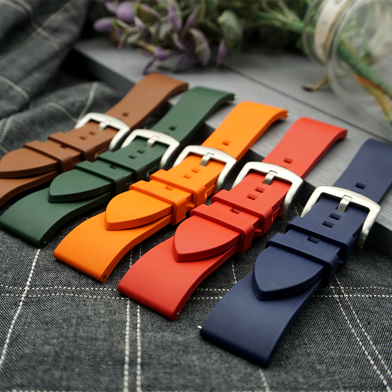 Premium-Grade Fluorine Rubber Watch Strap 20mm 22mm 24mm Bracelet Quick Release Bar Watchband For Each Brand Watches Band