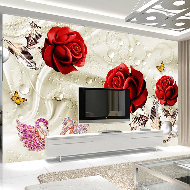 Custom Photo 3D Stereoscopic Red Rose Swan Jewelry Living Room TV Background Wall Mural Waterproof Silk Cloth Wallpaper Flower image