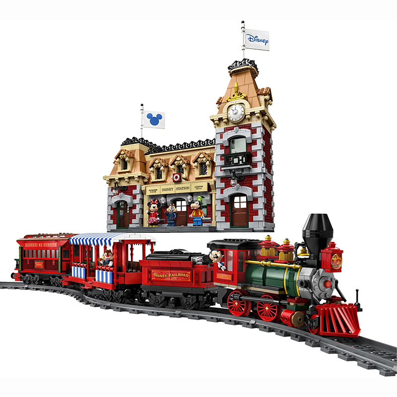 3362Pcs J11001 Disney Train and Station Compatible 71044 Bricks toy for Children Birthday Gift
