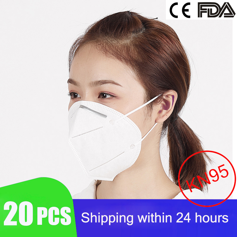 20PCS KN95 Mask Respirator Protective Safety Disposable Face Masks 95% Filtration for Dust Particulate Pollution N95 Protection title=