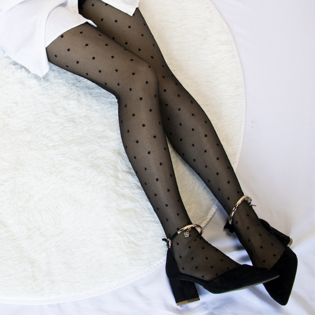 Women's Tights Classic Polka Dot Silk Stockings.Ladies Vintage Faux Tattoo Round Dot Pantyhose Female Hosiery 3