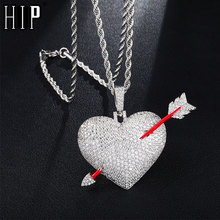 Hip Hop Iced Out Bling Micro Paved AAA+ Cubic Zircon Copper Love Heart With Arrow Necklace for Men Jewelry