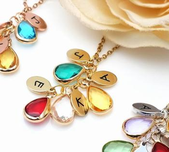 Personalized Initials Necklace Grandma Gift Choker Birthstone Jewelry For Mother Family Jewelry rose gold color family tree necklace mother s necklace with birthstone grandmas gift custom gift for mother