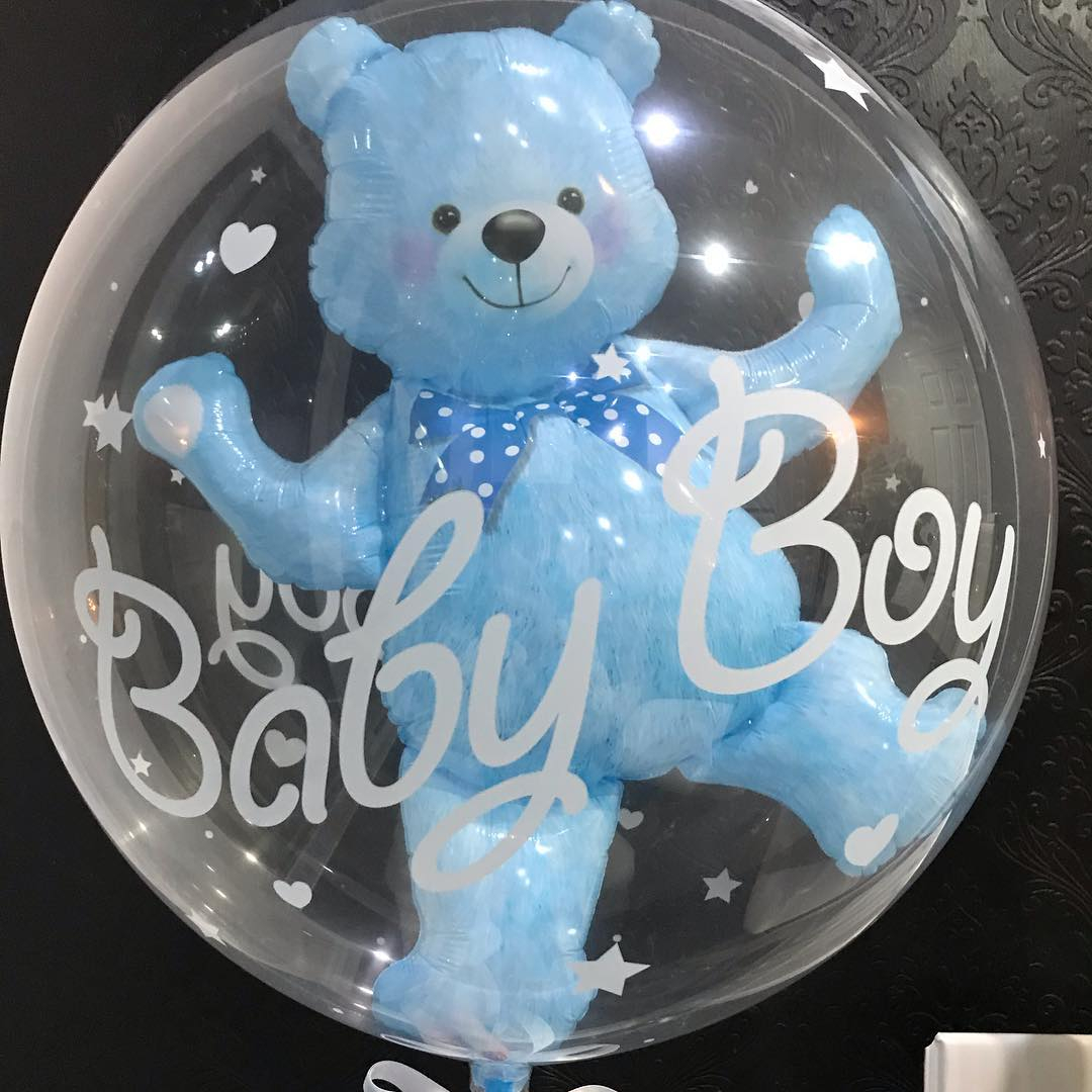 4D Transparent Baby Girl/Boy Bear Bubble Ball Birthday Party Blue/Pink Balloon Baby Shower Gender Reveal Decor DIY Gift Supplies 1