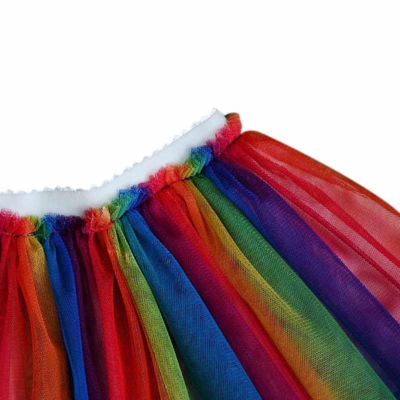 طفلة الملابس الكرتون تي شيرت مجموعة قوس قزح بالون تنورة ملونة شبكة تنورة قطعتين ل 2-7T
