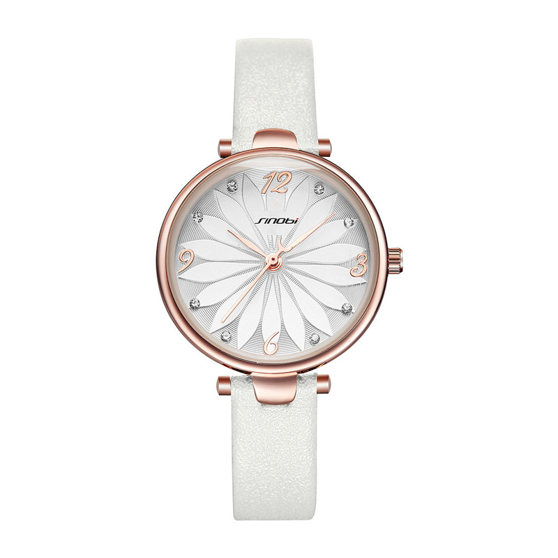2019 New SINOBI Watch Women White Leather Strap Fashion Flower Design Women Watches Quartz Wristwatch Ladies Watch Gift Dropship