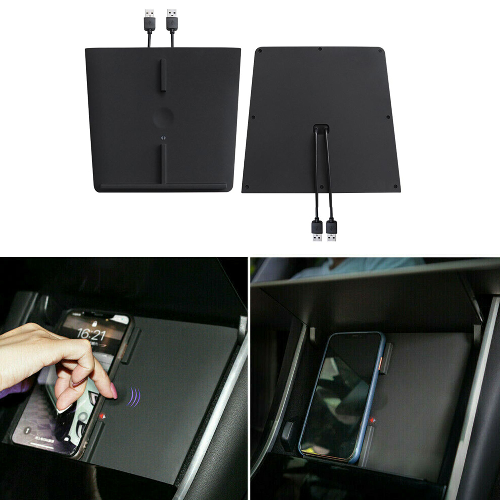 For Tesla Model 3 Center Console Wireless Charger Pad Dual USB Ports Mobile Phones Wirelss Charging For iPhone 11 XS Max Samsung