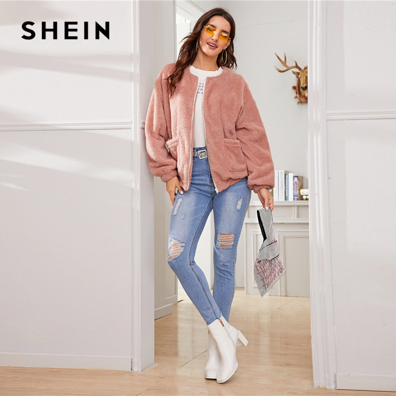 SHEIN Pink Solid Zipper Front Casual Teddy Jacket Coat Women 2019 Winter Streetwear Long Sleeve Double Pocket Ladies Outwear 8